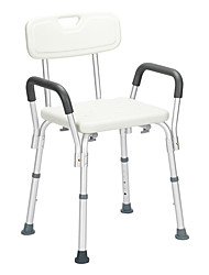 cheap -Aluminum Alloy Lifting Bath Chair 6 Files With Armrests With Backrest PE Seat Stool Rubber Floor Mat White Furniture