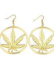cheap -gold marijuana leaf earrings jewelry acrylic 80s weed hoop earrings for women