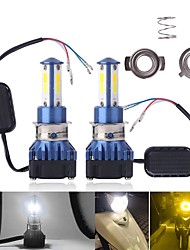 cheap -1Set H4 led HS1 PH7 Motor Led Motorcycle Headlight COB Headlamp For Moped Scooters Motorbike Dual Color Strobe Flash Motor Styling