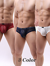 cheap -Men's Basic Sexy Panties G-string Underwear High Elasticity Low Waist 3 Pieces Multi color S