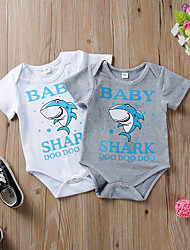 cheap -Baby Boys' Basic Letter Animal Print Short Sleeves Romper Gray White