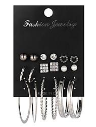 cheap -pearl alloy diamond heart-shaped earrings set popular geometric circle earrings 9 pairs of earrings
