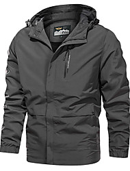 cheap -Men's Jacket Sport Fall Long Coat V Neck Stand Collar Regular Fit Windproof Sporty Jacket Long Sleeve Print Print Dark Grey Black Milky White
