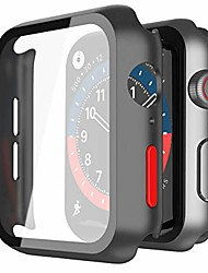 cheap -misxi 2-pack hard pc case with tempered glass screen protector compatible with apple watch series 6 se series 5 series 4 44mm - (black with red button)