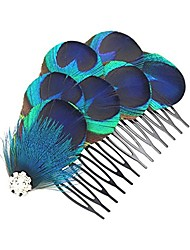 cheap -handmade peacock feather hair comb hair accessories (blue with white rhinestone)