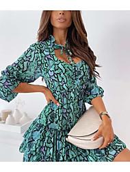 cheap -independent station wish amazon hot models 2021 summer new printed chiffon dress women's clothing