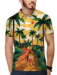 cheap -Men's Golf Shirt Tennis Shirt 3D Print Portrait Coconut Tree Button-Down Short Sleeve Casual Tops Casual Fashion Tropical Breathable Yellow / Sports
