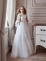 cheap -A-Line Floor Length Flower Girl Dresses Party Tulle Long Sleeve Jewel Neck with Sash / Ribbon