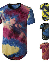 cheap -Men's Tee T shirt Shirt Graphic Rendering Plus Size Short Sleeve Casual Tops Basic Designer Hip Hop Slim Fit Blue Purple Yellow