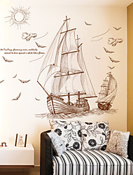 cheap -sailing boat wall stickers living room tv background wall decoration bedroom children's room wall wall stickers wallpaper stickers self-adhesive 60*90CM