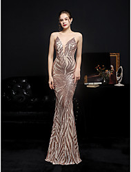 cheap -Mermaid / Trumpet Sparkle Sexy Wedding Guest Formal Evening Dress V Neck Spaghetti Strap Sleeveless Floor Length Sequined with Sequin 2021