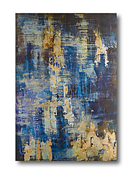 cheap -Oil Painting Handmade Hand Painted Wall Art Abstract Comtemporary Dark Blue Beige Home Decoration Decor Stretched Frame Ready to Hang