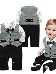 cheap -Baby Boys' Basic Color Block Patchwork Long Sleeve Romper Gray