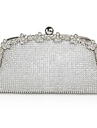 cheap -Women's Bags Alloy Evening Bag Crystals Solid Color Glitter Shine Wedding Evening Bag Wedding Bags Silver Gold