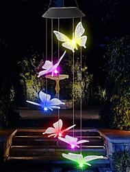 cheap -Outdoor Waterproof LED Solar Colorful Wind Chime Lamp Butterfly Shape Pendant LED Night Light Courtyard Garden Terrace Decorative Lantern