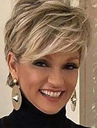 cheap -Creamily Short Pixie Wig Layered Short Blonde Pixie Wig for Women Synthetic Hair Ladies Wig Brown Mix Blonde