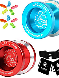 cheap -MAGICYOYO Pack of 2 N8 Dare to Do Unresponsive Yoyo Aluminum Metal YoYos Red and Blue + 10 Strings + 2 Gloves +2 Yoyo Bags Gift