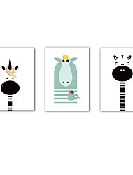 cheap -3 Panels Nursery Wall Art Canvas Prints Painting Artwork Picture Cartoon Zebra Hippo Giraffe Animal Home Decoration Decor Rolled Canvas No Frame Unframed Unstretched
