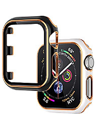 cheap -wearlizer 2 packs case compatible with apple watch series 6 5 4 se 40mm with screen protector full cover hard pc protective bumper case accessories for iwatch women men (black white bumper/gold edge)