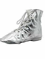 cheap -Women's Jazz Shoes Ballroom Shoes Boots Flat Heel Round Toe Silver Gold Lace-up Adults' / Performance / Practice