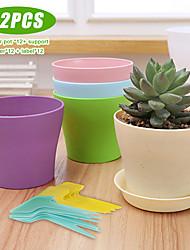 cheap -12 Sets Teeny Colourful Plastic Material Resin Planter Cactus Cute Flower Pots Succulent Nursery Pots Garden Pots Rustic Home Decor
