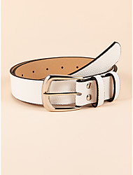 cheap -Women's Waist Belt Party Street Dailywear Daily White Belt Pure Color Basic Fall Winter Spring Summer