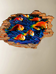 cheap -3D Broken Wall Undersea World Fish Group Home Children's Room Background Decoration Can Be Removed Stickers