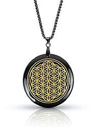 cheap -black obsidian stone necklace | luxar | spiritual pendant | flower of life | black metal chain | 1.57 inch diameter pendant and presentation box