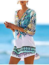 cheap -Women's Cover Up Beach Dress Swimsuit Red / Yellow Blue-Green Swimwear Bathing Suits New / Split / Padless