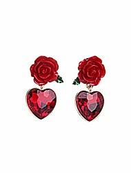 cheap -qepol red rose flower stud earrings, created ruby heart stud earrings accessories simulated flower vintage goth stud earrings for women (red)