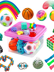 cheap -Sensory Fidget Toys Set, Fidget Sensory Toys Bundle for Kids Autism, ADHD, Adults Anxiety Stress Relief Kit with Stress Balls, Squishy, Stretchy String, Puzzle Balls Variety 27 Pack