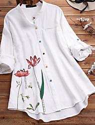 cheap -Women's Plus Size Tops Shirt Floral Print Long Sleeve Button Down Collar Design No. 1 Design No. 2 Big Size L XL XXL XXXL 4XL