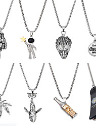cheap -8Pcs Hipster Punk Necklace Set Rock Stainless Steel Pendant Necklace Hand Spaceman Wolf Leaf Shark Wine bottle Scooter Pendant Necklace for Women and Men