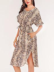 cheap -Women's A Line Dress Knee Length Dress Serpentine Short Sleeve Pattern Spring Summer Casual / Daily 2021 S M L XL