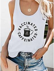 cheap -Women's Tank Top T shirt Letter Print Round Neck Basic Tops Cotton White Black Gray