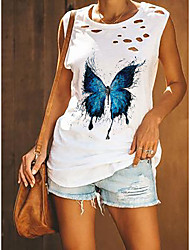 cheap -Women's Butterfly Tank Top Vest Butterfly Animal Cut Out Print Round Neck Basic Streetwear Tops Cotton White Army Green Black