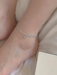 cheap -Anklet Stylish Fashion Punk Women's Body Jewelry For Street Gift Copper Hollow Heart Silver 1 PC