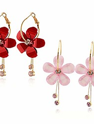 cheap -romantic cz crystal acrylic resin sunflower star earrings five leaves exaggerated round hoop long tassel earring for women jewelry (pink+red)