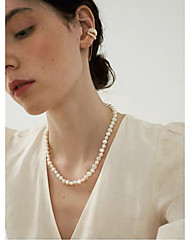 cheap -Pearl White Color Freshwater Pearl Classic Friends Classic Basic Baroque European Silver Plated 45cm Length Necklace With Lobster Clasp   Jewelry 1pc For Wedding Anniversary Formal Engagement Birthday Party