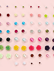 cheap -diamond-studded color flower pearl earrings acrylic 30 pairs set alloy jewelry