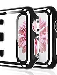 cheap -tauri 2 pack hard case compatible for apple watch series 3/2/1 38mm built in 9h tempered glass screen protector, touch sensitive protective slim cover compatible for iwatch 38mm - black/silver