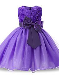 baratos -crianças crianças pequenas meninas vestido festa princesa flor tule vestido de cor sólida floral arco branco azul roxo acima do joelho sem mangas vestidos doces ativos