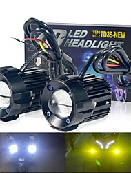 cheap -2pcs 12V -24V 60W motorcycles Led Headlight Work Fog Light White Yellow Dual Color High Beam Spotlight for car trucks