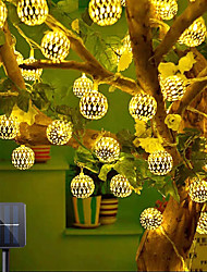 cheap -Outdoor Solar LED Wrought Iron Hollow String Lights IP65 Waterproof Ball Light Christmas Wedding Party Garden Holiday Decoration