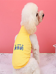 cheap -Dog Vest Dog Costume Quotes & Sayings Text / Number Leisure Adorable Dailywear Casual / Daily Dog Clothes Puppy Clothes Dog Outfits Breathable Yellow Costume for Girl and Boy Dog Polyester XS S M L