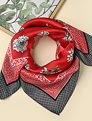 cheap -Women's Square Scarf Daily Wear Multi-color Scarf Floral / Polyester