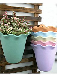 cheap -10 PCS Classic Indoor Wall-mounted Flower Pot Outdoor Balcony Railing Plastic Flower Pot Creative Plants Decoration Hanging Plant Pots