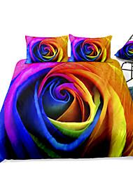 cheap -Duvet Cover Sets Floral 3 Piece Rayon / Polyester 3D Rainbow Reactive Print Bohemian Style