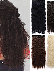 cheap -Corn Wave Clip in Hair Extension Wavy Curly Clip ins Synthetic Natural Fiber Hair 5Clips on Hair Extension for Black White Women