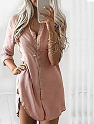 cheap -Women's Shirt Dress Short Mini Dress Red Wine khaki Black Long Sleeve Solid Color Spring Summer Shirt Collar Chic & Modern Casual / Daily 2021 S M L XL XXL XXXL